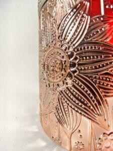 Red Sangria Flower Jar Side Closeup
