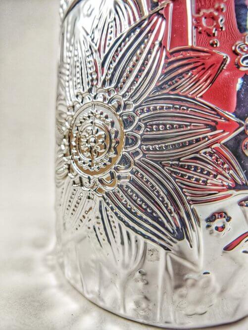 Frosted Juniper Flower Jar Detail Close-up