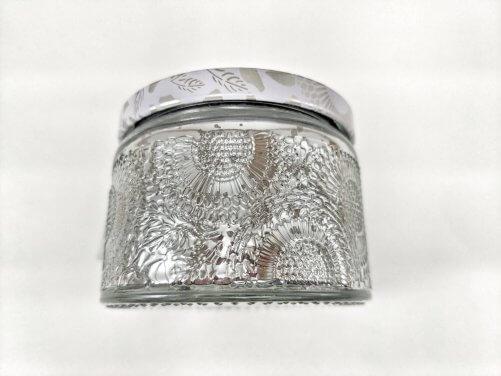 Frosted Juniper Small Jar Side Closeup
